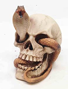 Skeleton Cobra Snake Habitat Skull Figurine Statue Sculpture Halloween from Atl