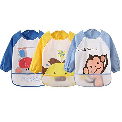 Bambini Arts Craft pittura grembiule Bavaglino Messy Play pulire coverall-unisex Baby impermeabile Bavaglino con maniche, mangiare e giocare Smock, Grembiule di PEVA Serie Balena (Blu Scuro), Set di 3, 6months-3anni