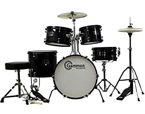 Complete 5-Piece Black Junior Drum Set with Cymbals Stands Sticks Hardware & Stool from Gammon Percussion