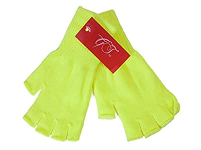Gravity Threads Unisex Warm Half Finger Stretchy Knit Gloves - Neon Yellow