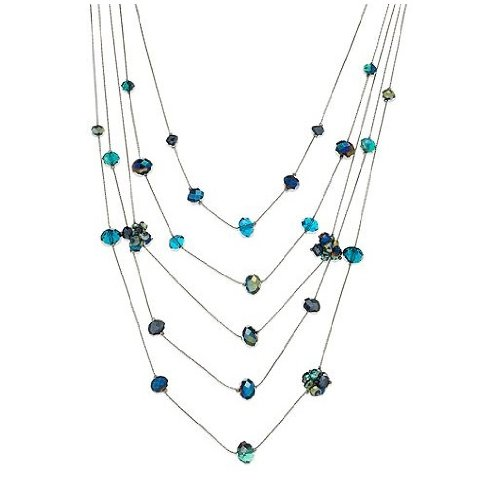 C.A.K.E. By Ali Khan Necklace, Hematite-Tone Peacock Glass Bead Five-Row Illusion Necklace