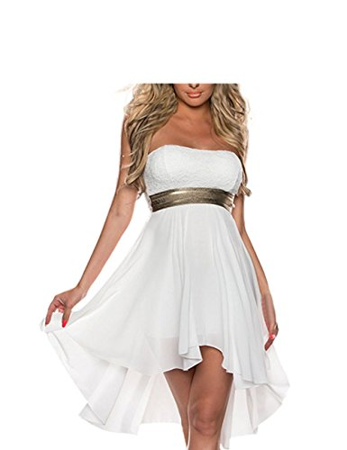 FASHION LOVER Women's Strapless High Low Cocktail Prom Dress Size S White