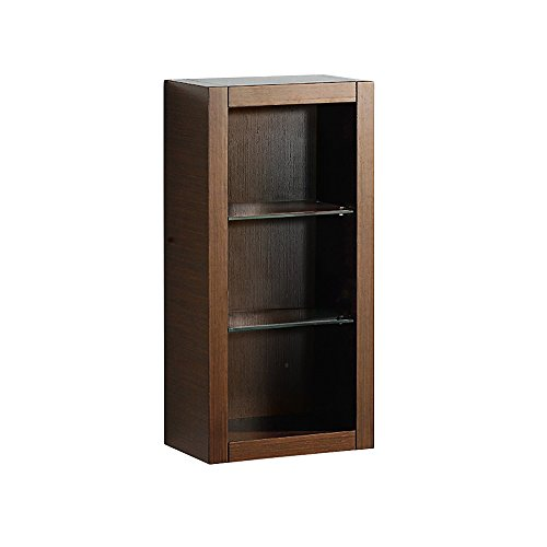 Fresca Bath FST8130WG Bathroom Linen Side Cabinet with 2 Glass Shelf, Wenge Brown (Linen Cabinet Glass compare prices)