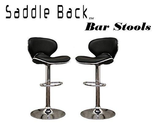 Saddleback Modern Adjustable Leather Bar Stool Set Of 2