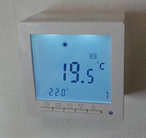 SM-PC®, Digital Thermostat ´Aufputz´ für Fussbodenheizung max 16A, großes Display, Wochenprogramm, weiße Hintergrundbeleuchtung #ap894