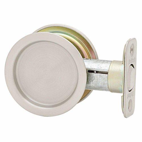 Kwikset 334 Round Hall/Closet Pocket Door Lock In Satin Nickel front-590029