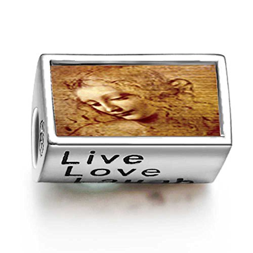 Fervent Love Da Vinci Picture Words Live Love Laugh Bead Charm front-174398