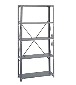 "Safco Products 6265 Commercial Shelf Kit 36 x 12"", 5-Shelf, Gray"