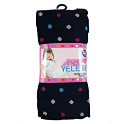 Girls Fashion Tights - Girls Leggings Black w/ Polka Dots Design - (Size XL - Ages 11-14 Years)