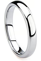 Tungsten Metal 4MM Plain Dome Wedding Band Ring Ring Size 4-12