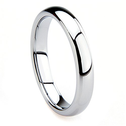 Tungsten Metal 4MM Plain Dome Wedding Band Ring Sz 8.0