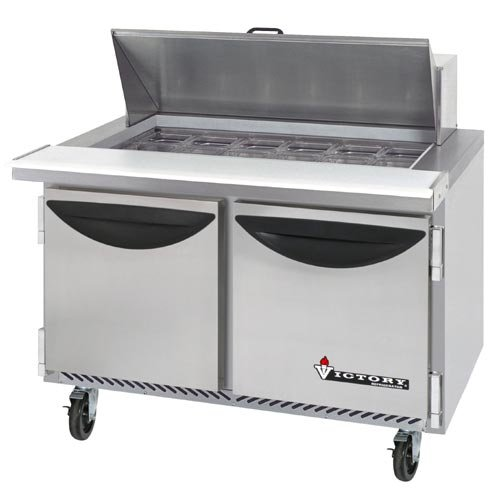 "Victory Refrigeration Value Line VUR-4-12BT ""Value"" Series 48"" Two Door ""Mega Top"" Refrigerated Sandwich Prep Table - 12 Pan"