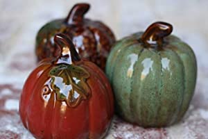3pc Assorted Colors Ceramic Pumpkins