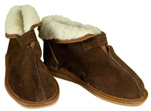 Image of Women's Brown Leather & Wool Slippers with Fold-down Top (B009K4IALI)