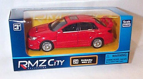 rmz-city-collection-red-subaru-wrx-sti-car-132ish-scale-diecast-model