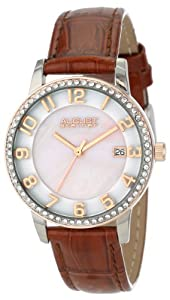 August Steiner Women's AS8056BR Swiss Quartz Mother-Of-Pearl Crystal Leather Strap Watch