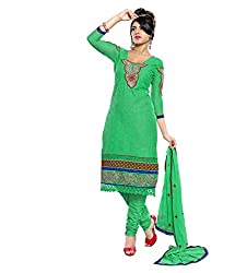 Avani Green Cotton With Karachi Style Embroidery With Stone Work