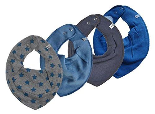 Pippi 4er Set Baby Dreieckstuch Halstuch Lätzchen 4 Stück * Sterne & Blau & Grau