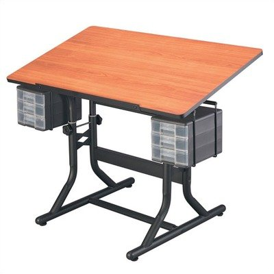 CraftMaster Deluxe Drafting Table Cherry Woodgrain Top/Black Base