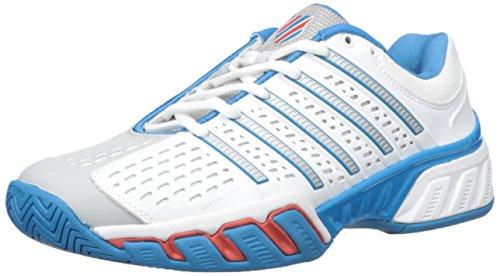 K-Swiss Men's Bigshot 2.5 Performance Tennis Shoe, White/Methyl Blue/Fiery Red, 9 M US
