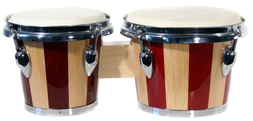 "Technote 7"" and 8"" Bongo Set with Padded Bag - Red and Natural Stripe"