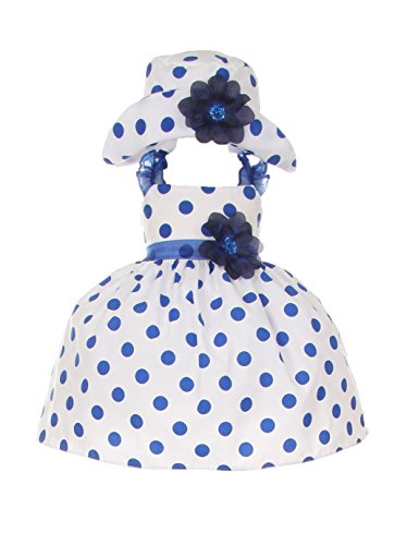 Cinderella Couture Baby Girls' Cotton Polka Dotted Dress Hat Navy 6M Sm (1002)
