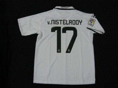 08-09 REAL MADRID HOME JERSEY VAN NILSTELROY + FREE SHORT (SIZE XL)