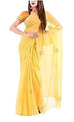 Rida By sheenu Women's Georgette Saree(RIDA-007_Yellow_Free Size)