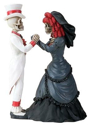 Day of the Dead DOD Gothic Wedding Skeleton Skull Bride & Groom Statue Figurine