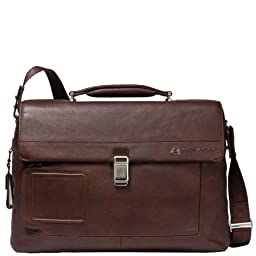 Piquadro Computer Briefcase with Two Dividers Plus iPad and Notebook Compartment, Dark Brown, One Size