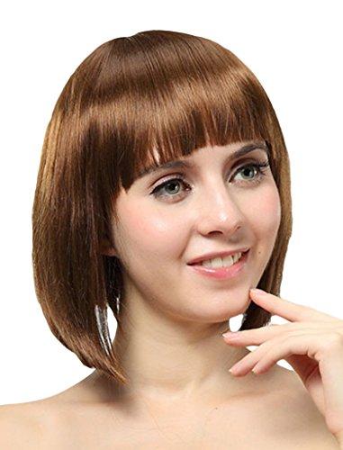 EOZY Perruque de Cheveux en Fibres Synthétiques Court Perruque BobHaircut avec Frange Plat Chocolat 28 CM