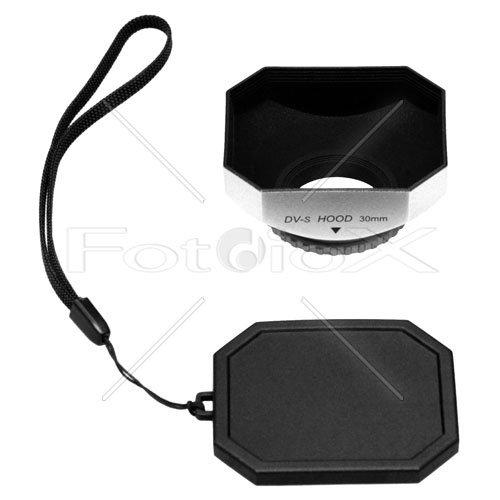 Fotodiox Video Camera, Camcorder DV Lens Hood, Sun Shade, 30mm Silver