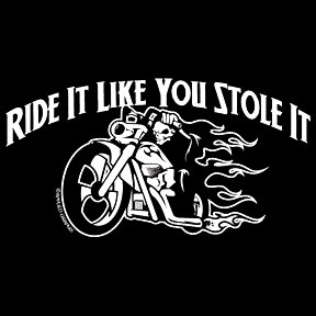 Buy Youth Sweatshirt : Ride It Like You Stole It – Biker Design with Flaming Skeleton on Chopper Bike