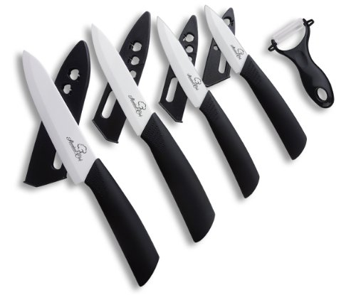 "Abundant Chef (TM) Premium 9 Piece Ceramic Cutlery Knife and Peeler Set (6"" Chef's, 5"" Utility, 4"" Paring, 3"" Fruit"