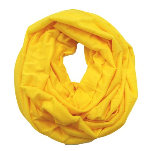Plum Feathers Elegant Solid Color Infinity Loop Jersey Scarf (Yellow)