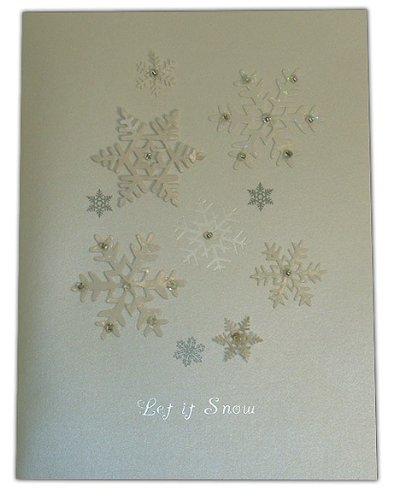 Falling Snowflakes White Burgoyne Christmas Card