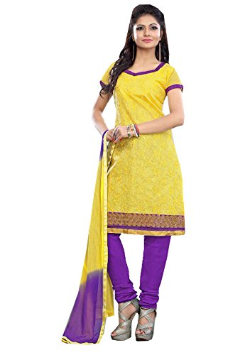 Lemon Rajnandini Women's Chanderi Unstitched Salwar Suit Dress Material With Duppta(Free Size_Lemon Colour) (Multicolor)