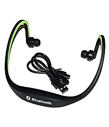 Storite Bluetooth Headphones with Mic SD Card Slot BS19C,(Black/Green)