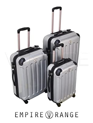 "Venture - Set of 3 Silver Hard Plastic 360 Degree 4WD Suitcases 20"" - 24"" - 28"""