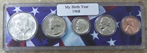 1968 - 5 Coin Birth Year Set in American Flag Holder Uncirculated