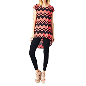 Women'S Poly Span Chevron Print High & Low Sleeveless Tunic - A07 Black & Salmon M
