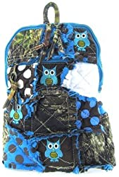 Cute! Patchwork Camo Owl Small Backpack Purse Blue Camouflage