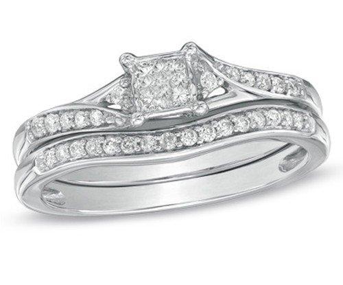 0.58 Carat Bridal Sets Princess Cut Diamond on 18K White gold