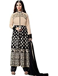 Aryan Fashion Designer Cream & Black Embroidered Georgette Semi-Stitched Suit For Women & Girls Party Wear For...
