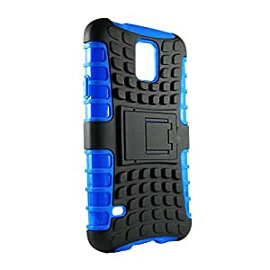 AVC EXPLORER Polycarbonate Hybrid Case Cover for Samsung Galaxy S5 SM-G900I Mobile Cell Phone (Blue)