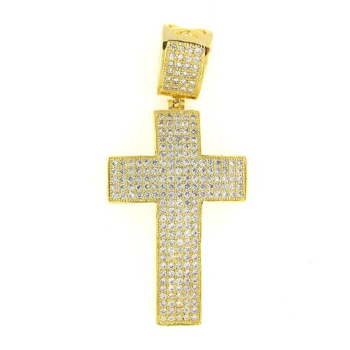 Men's Iced Out Hip Hop 14K Gold Plated Cubic Zircoina (CZ) Micro Pave Latin Cross Religious Charm Pendant