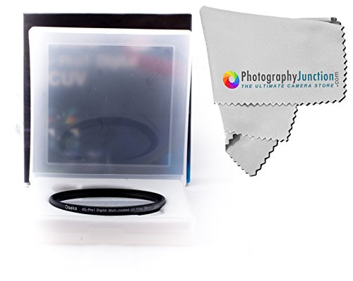 Osaka 58mm ULTRA THIN XS-PRO1 UV Ultraviolet Lens Protection Filter + Free Photography Junction Premium Micro Fiber Cloth for Canon EF-S 18-55mm, 28-80mm, 55-250mm & 28-90mm EOS 1200D 700D 650D 600D 550D 500D 450D 400D 350D 300D 1100D 100D 60D
