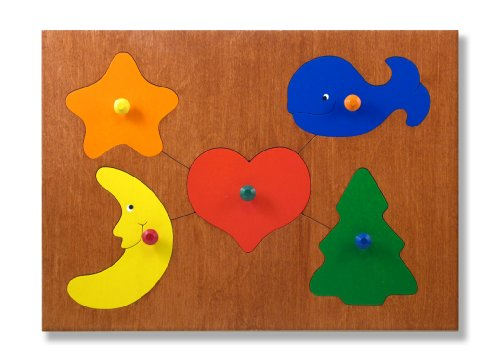 Picture of KidPuzzles Puzzle with Knobs Basic Shapes (B00564HNMI) (Pegged Puzzles)