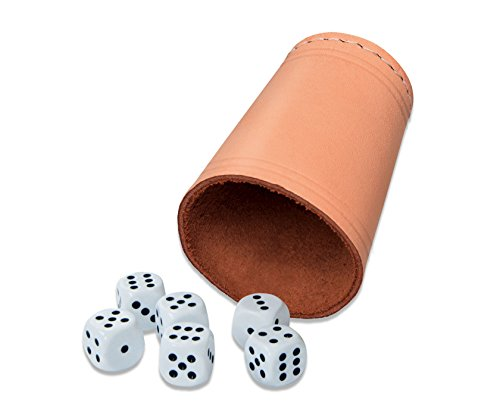"Noris Spiele 606154318 ""Lederwürfelbecher"" Toy with 6 dice"
