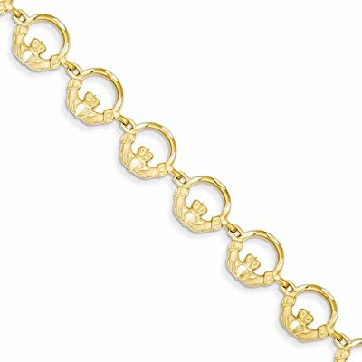 """Solid 14k Yellow Gold Claddagh Bracelet - with Secure Lobster Lock Clasp 7"""""""
